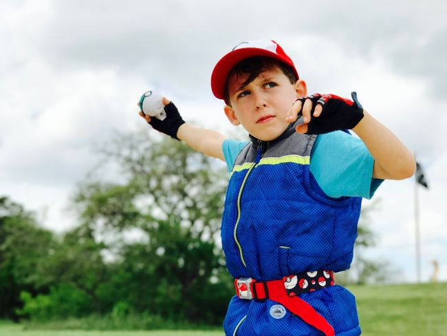 Ash Ketchum Adventure Fun Costume Cosplay Pokemon Trainer Pokemon Hunting Boys Baseball - Sport Childhood Leisure Activity One Person Standing Day Outdoors Lifestyles Playing Real People One Boy Only Sky Child