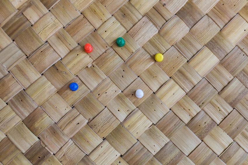 Push pins on bamboo board. Bamboo Colorful Day Green No People Office Office Supply Push Pins Red Thumb Tacks Wood - Material