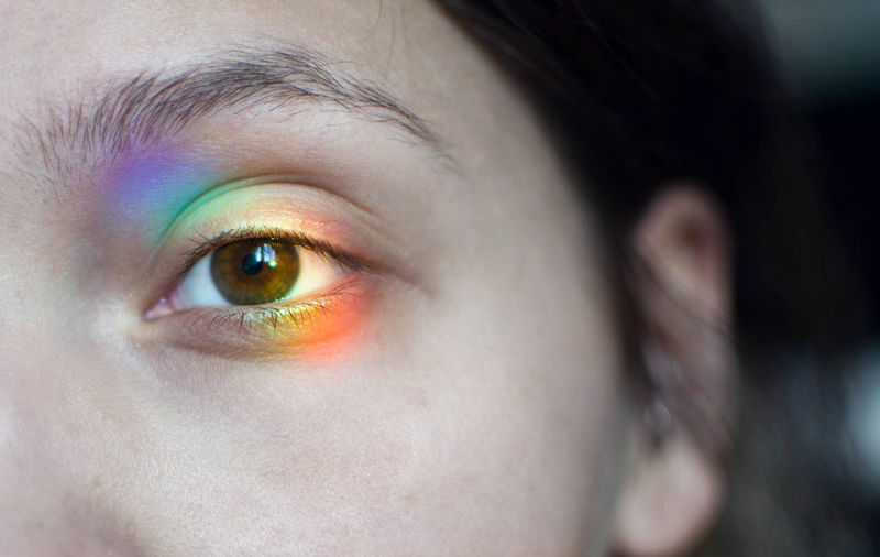 Close-up of spectrum on woman eye