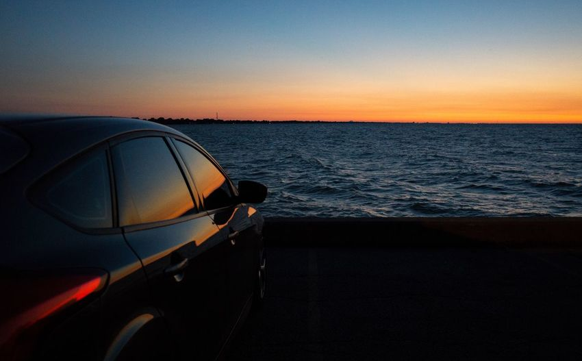 Sea Sunset Transportation Water No People Horizon Over Water Nature Clear Sky Beach Sky Beauty In Nature Evening Sky Chill Mode Chilling ✌ Golden Hour Lake View Lakeshore Marina No People, Focus St Car Automotive Car Love