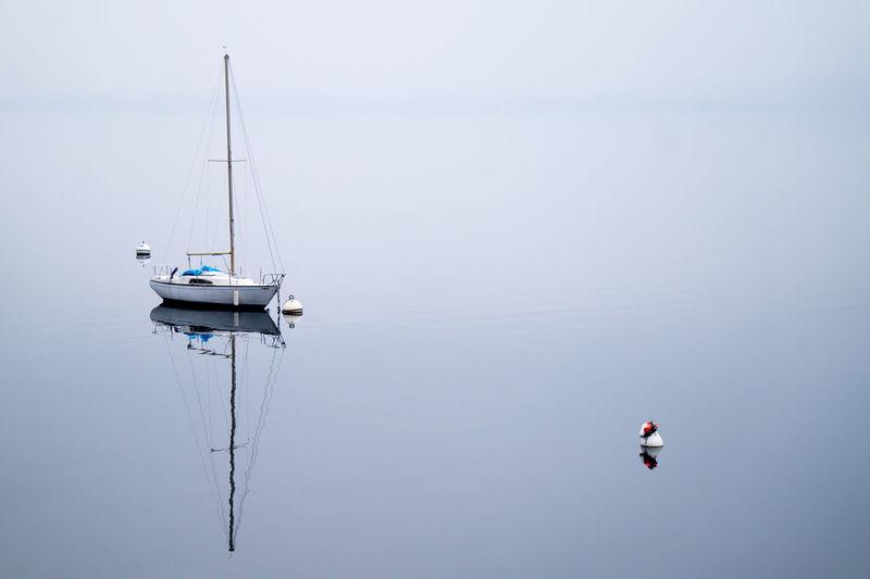 Boat on lake against sky