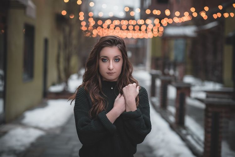 Young Adult Young Women Focus On Foreground One Person Looking At Camera Beautiful Woman Outdoors Portrait Building Exterior Lifestyles Winter Architecture