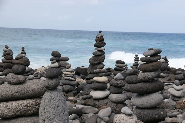 Abundance Balance Beauty In Nature Day Groyne Horizon Over Water Idyllic Large Group Of Objects Nature No People Ocean Outdoors Pebble Rock Rock - Object Scenics Sea Shore The Magic Mission Stack Stone Stone - Object Tranquil Scene Tranquility Water