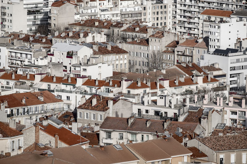 Aerial view of Marseille, France, from Notre-Dame de la Garde France France Marseille Mediterranean  Architecture Building Exterior Built Structure City Cityscape Crowded Day Europe Full Frame House Outdoors People Residential Building Roof Town