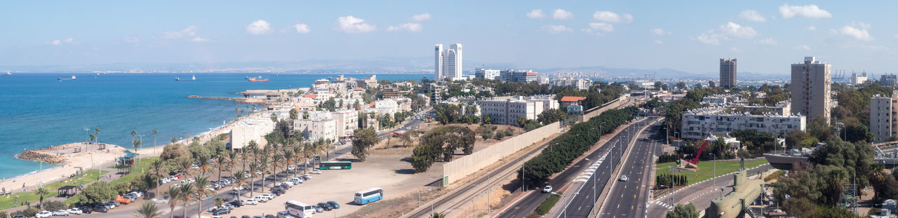 Haifa, Israel - October 22, 2016 : Panorama of downtown Haifa and Haifa harbor and bay. View from Mount Carmel Arhitecture Bay Building Carmel City Coast Day Downtown Haifa Harbor House Israel Landscape Mediterranean  Middle Mount Panorama Port Sea Ship Sky Street Town View Waterfront