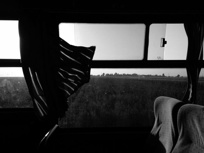 High speed early in the morning. A heat is near 30 degrees. Absence Black And White Bus Seat Curtain Empty Eternal Journey On The Way Schwarz Und Weiß Seat Velocity Wind