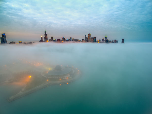 Chicago X Atlantis. Low fog day Adler Planetarium Chicago Chicago Skyline Chicago Architecture Architecture Building Exterior Built Structure City City Life Cityscape Downtown District Fog Foggy Foggy City Sky Skyline Skyscraper Travel Destinations Urban Skyline Water Waterfront