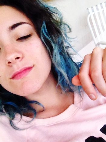 Me Soft Relax Smile Happy BlueHair Italiangirl Selfie House Bored