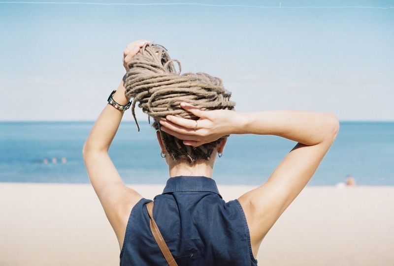 fujifilm superia x-tra 400 Enjoying Life Dreadlocks Dreadgirl Sea And Sky Sea Neck Hands Dreadhead DreadStyles  Dreadhair Beach Sand Summer Film Photography
