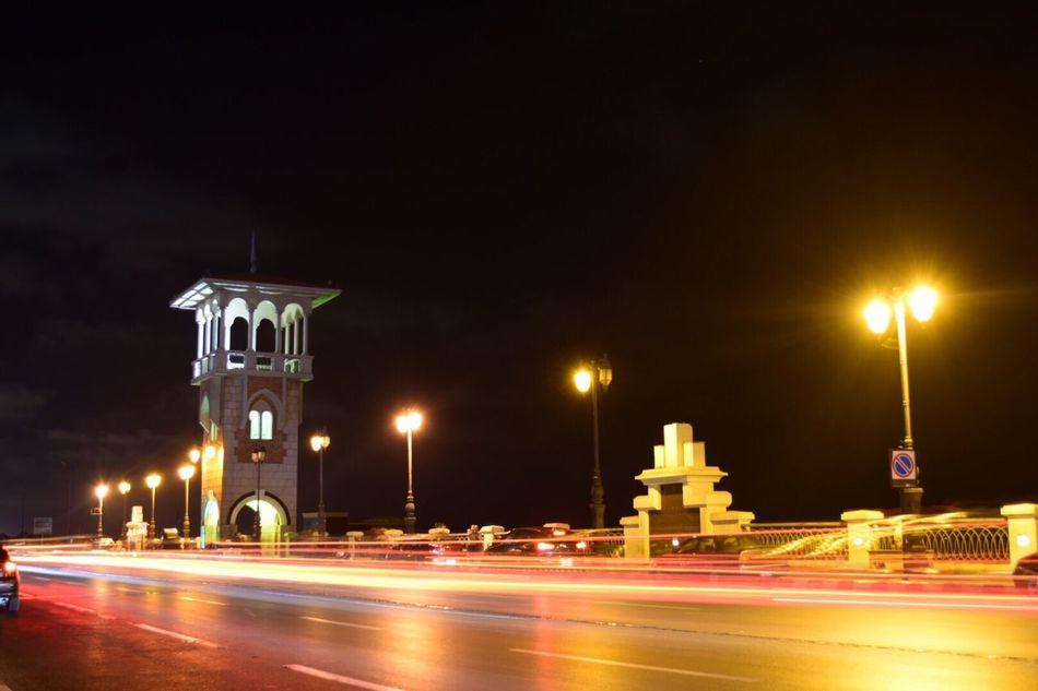 Light Trails Stanley Bridge Egypt Cars Bridge Night Street Light