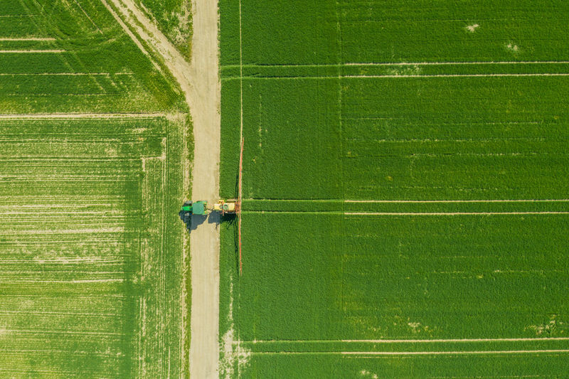 Aerial view of tractor on agricultural field