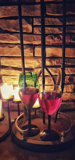 Liquid Lunch Stone Wall Background Two Wine Glasses Wine By Candlelight Melting Max Drink With Me One For Me And One For Myself Sweat Liquor Room Temperature Let It Breath