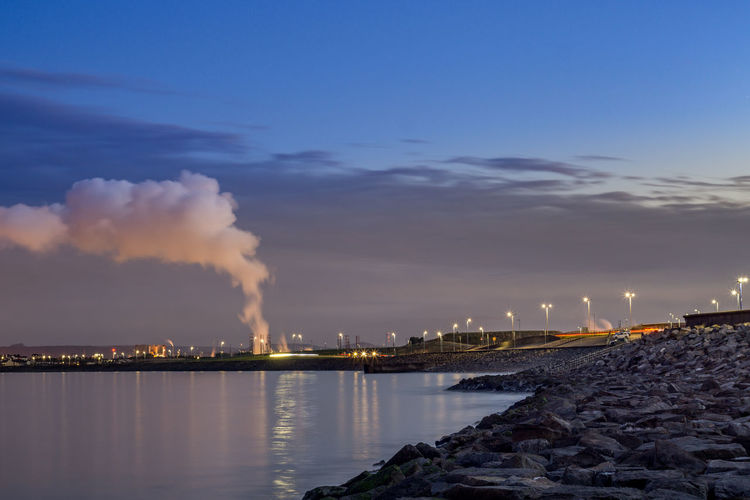Hartlepool Marina 14th October 2018 Hatlepool Teesside North East England North East England England, UK Europe Coast Coastal Feature Industry Industrial Sky Factory Building Exterior Smoke - Physical Structure Environmental Issues Smoke Stack Illuminated Cloud - Sky Air Pollution Fumes Fuel And Power Generation Emitting Environment Outdoors