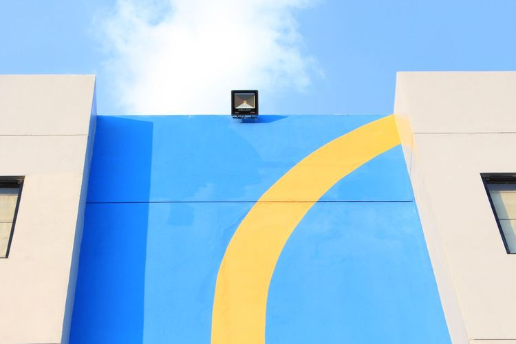 Modern Business Blue Yellow Sky Architecture Building Exterior Building Office Building Graffiti Street Art Office Block EyeEmNewHere Tall - High Tower A New Beginning