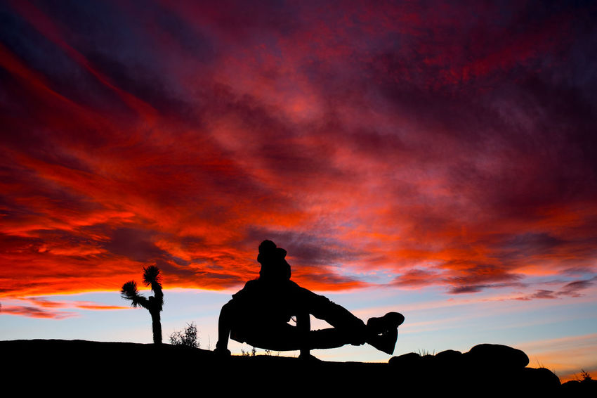 Silhouette Sunset Sky Cloud - Sky No People Outdoors Yoga Wanderlust Joshuatree