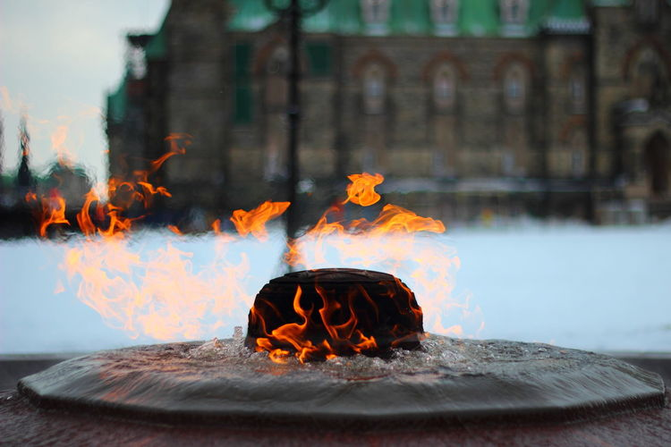 Burning Canada Close-up Day Eternal Flame Fire Flame Focus On Foreground Heat - Temperature No People Ontario Ottawa Ottawa Parliament Selective Focus Travel Travel Destinations Winter