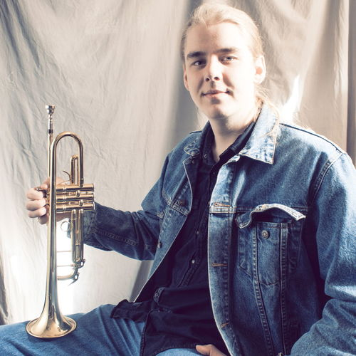 young man with horn Casual Clothing Chet Baker Wannabe Confidence  Denim Horn Jacket Jazz Jeans Trumpet Young Adult Young Man With Horn