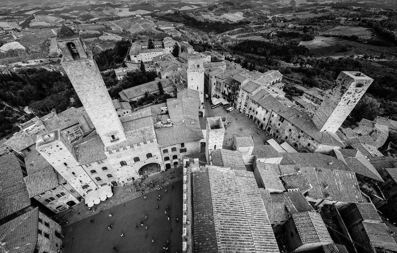 Travel Black & White Italy San Giminiano Towers Wide Angle Birds View Tuscany