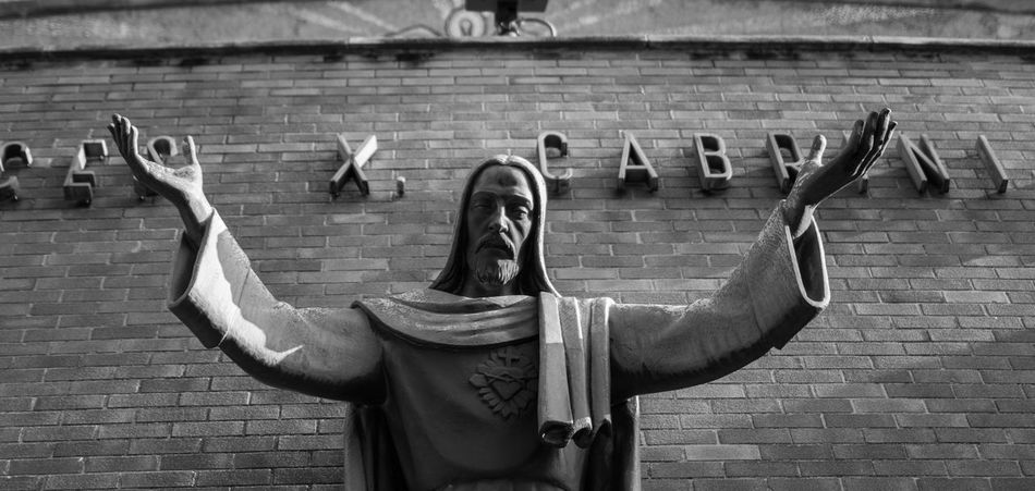 Jesus at Mother Cabrini church Black And White Christian Christianity Christmas Church Jesus Lord Religion Religious Architecture Religous Savior Symbolism
