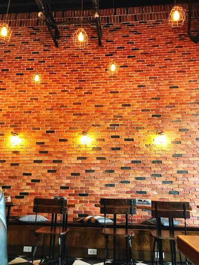 Brick by boring brick Chair Illuminated Table Orange Color Lighting Equipment Indoors  Restaurant No People Cafe Night Projection Equipment