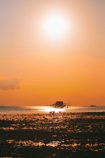 On Beach Sunset Sunset_collection Sunset Silhouettes Beauty In Nature Nature Landscape Landscape_Collection EyeEmNewHere EyeEm Nature Lover EyeEm Selects Silhouette Seascape Activity People Activity Beach Fishermen's Life Sea