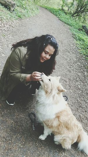 Pippa ❤ Dog Pets One Animal Love People Young Adult One Person Sitting Friendship Outdoors Day Happiness Smiling Real People Animal Themes Domestic Animals Mammal Full Length Adult Only Women Doggy Dog❤ Dog Love Like4like Followme First Eyeem Photo