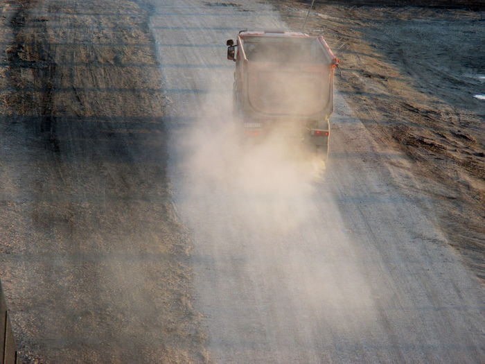 Truck Moving On Dirt Road