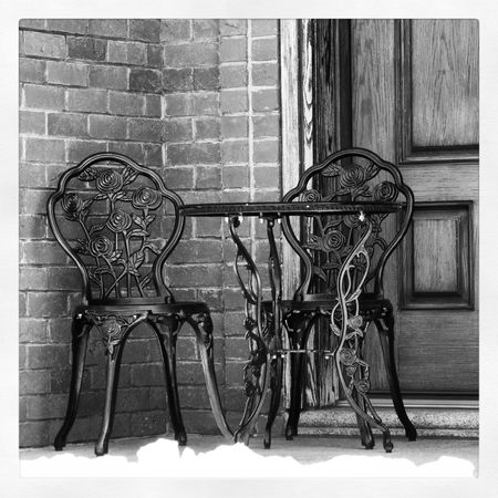 Queens NYC Queens NYC City Life City Weather USA NYC Photography NYC Street Photography My City Chair Old-fashioned Brick Wall Transfer Print Historic