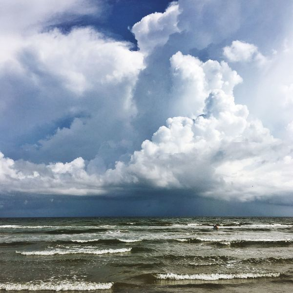 Approaching Storm // Sea Water Horizon Over Water Tranquil Scene Scenics Beach Tranquility Sky Beauty In Nature Calm Shore Cloud Idyllic Ocean Nature Seascape Blue Coastline Cloud - Sky Wave Storm Impending Storm Texas Galveston Island