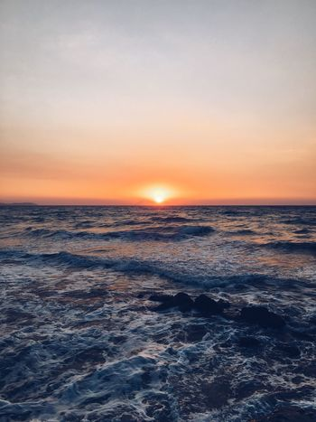 Sunset Sea Sunset Beauty In Nature Horizon Over Water Tranquil Scene Water Sky Beach Wave Idyllic Outdoors Greece Colour Your Horizn