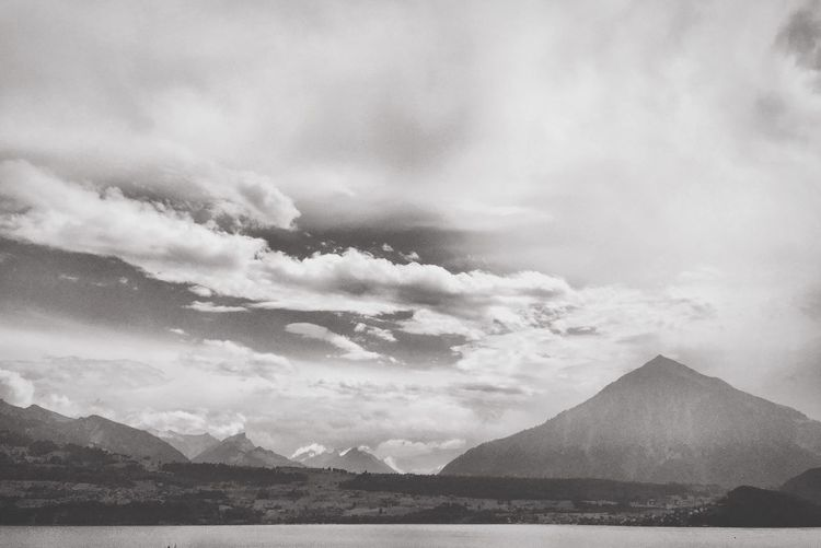 Mountain Nature Sky Outdoors Cloud - Sky No People Lake Mountain Range Black And White Mountain Thun Lake Switzerland