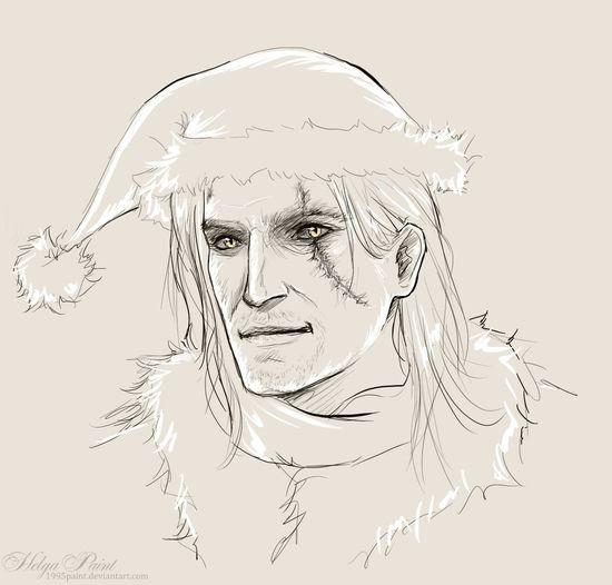 1995paint 2017 Geralt Geralt Of Rivia Happynewyear HelgaPaint Sapkowski Sketch Whitewolf Witcher Art Face Fantasy Geraltofrivia Geraltthewitcher Longhair Person Portrait Scar Thewitcher Youngman