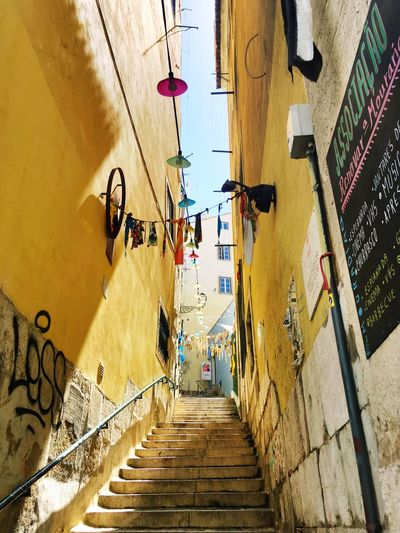 Staircase amidst yellow steps