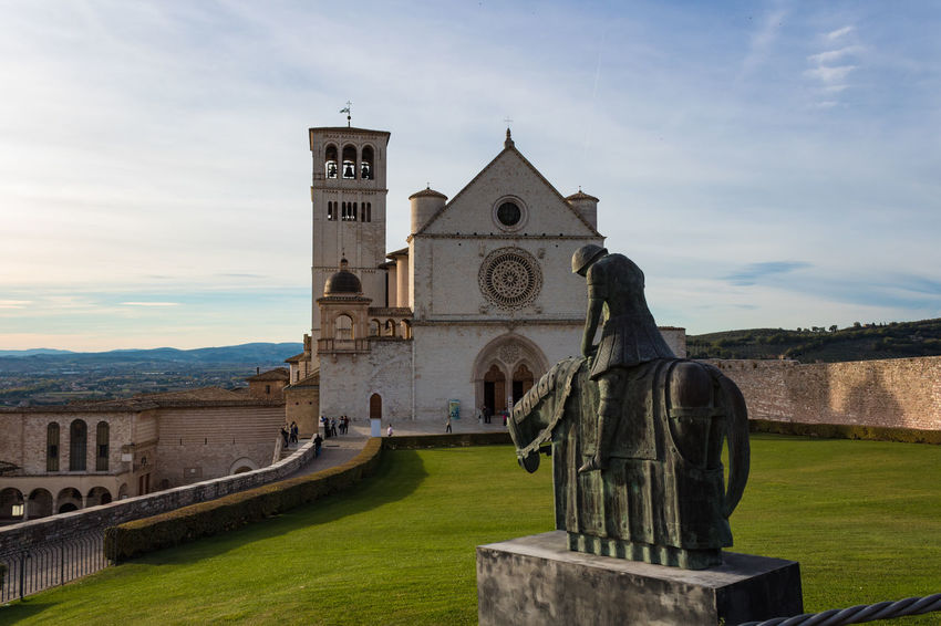 Basilica Cathedral Catholic Church Saint Francis Of Assisi Ancient Civilization Architecture Building Exterior Built Structure Cloud - Sky Day Grass History Nature No People Outdoors Religion Sculpture Sky