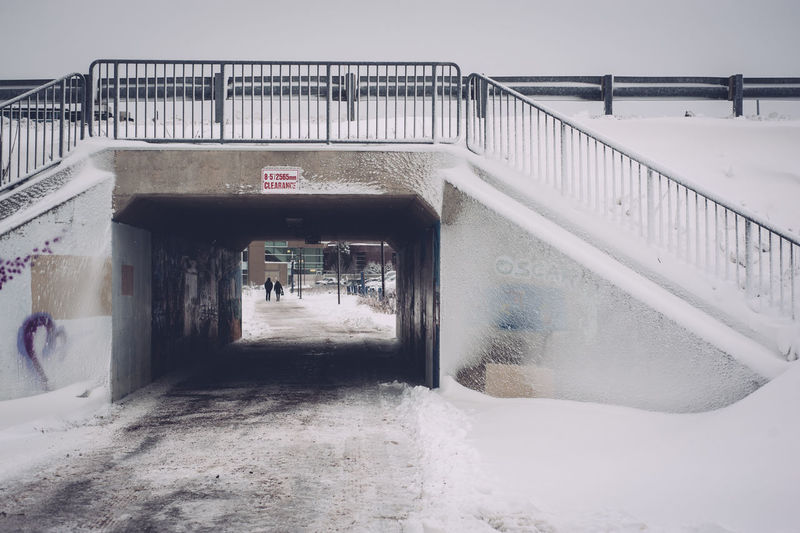 Underpass Architecture Bridge - Man Made Structure Built Structure Cold Temperature Day Outdoors Railing Snow Weather Winter