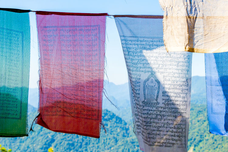ASIA Travel Bhutan Buddhism Day Focus On Foreground Multi Colored No People Prayer Flags  Sunlight Text Textile Tourism Transparent Travel Destinations