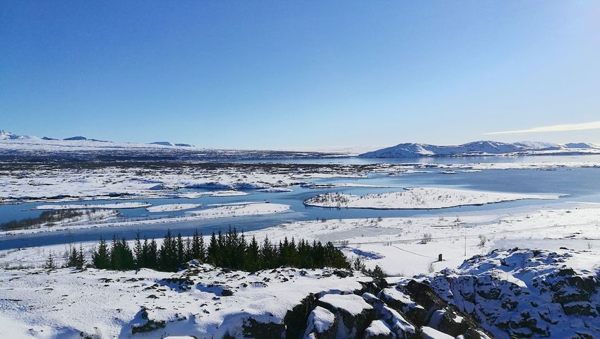 EyeEmNewHere No People Nofilter Pingvellir Iceland Trip Iceland Wintertime Winter Wonderland Ice Snow Cold Temperature Beauty In Nature Landscape Outdoors Tranquility Beautiful Day Scenics Lakeview Frozen Nature Blue Sky Noclouds EyeEmNewHere