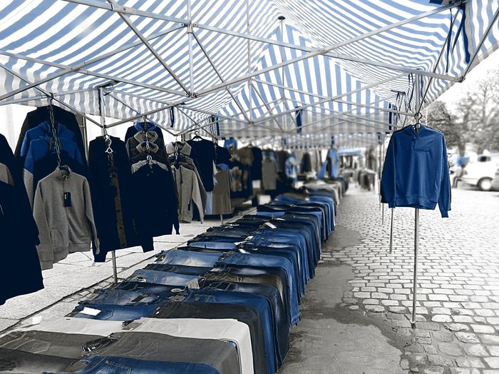 Arrangement Blue Blue Accent Choiceoftheday Covered Market Diminishing Perspective In A Row Jeans Market Stall Outdoors