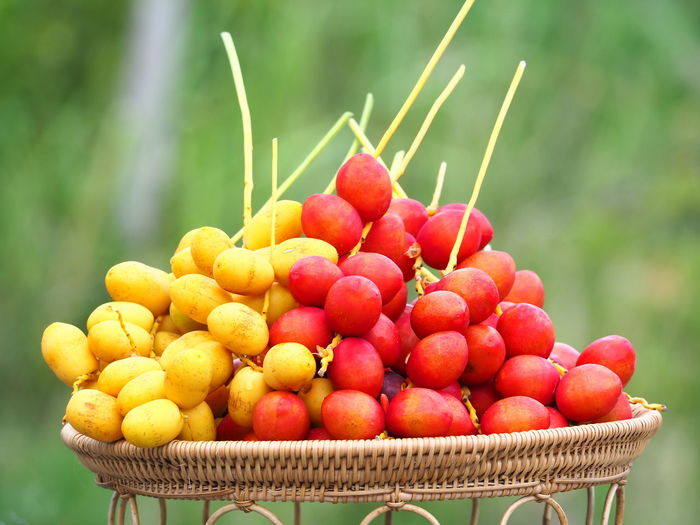 Close-Up Of Fruits In Wicker Basket