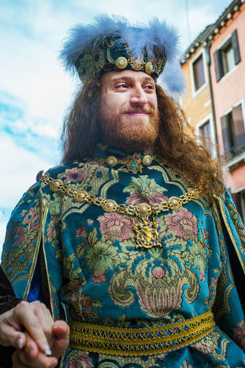 Carnival Carnivale In Venice Adult Beard Carnival Costumes Close-up Crown Day Front View Looking At Camera One Person Outdoors People Portrait Real People