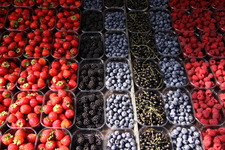 Full frame shot of berry fruits for sale in market