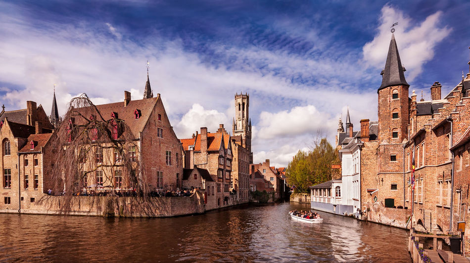Bruges Canals and Belfry Bruges Brugge Belgium Canal Water Belfry Bell Tower Architecture Buildings Blue Sea Boat City Cityscape Cityscape Photography Urban Urban Landscape Urban Photography Travel Travel Destinations Tourism Tourist Destination Flemish Architecture