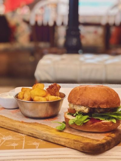 Vegan burger Vegan Food And Drink Food Freshness Ready-to-eat Table Unhealthy Eating Focus On Foreground Burger No People Indoors  Still Life Potato Close-up Fried Fast Food Bread Prepared Potato Sandwich Indulgence Hamburger