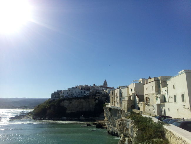 Sunny Sky Clear Sky Blue Sunlight Architecture No People Water Day Outdoors Nature Vieste Puglia Puglia Building Exterior Architecture Italy🇮🇹 Italy Ancient History Stone Wall Old Ruin The Past Cultures Stone Historic