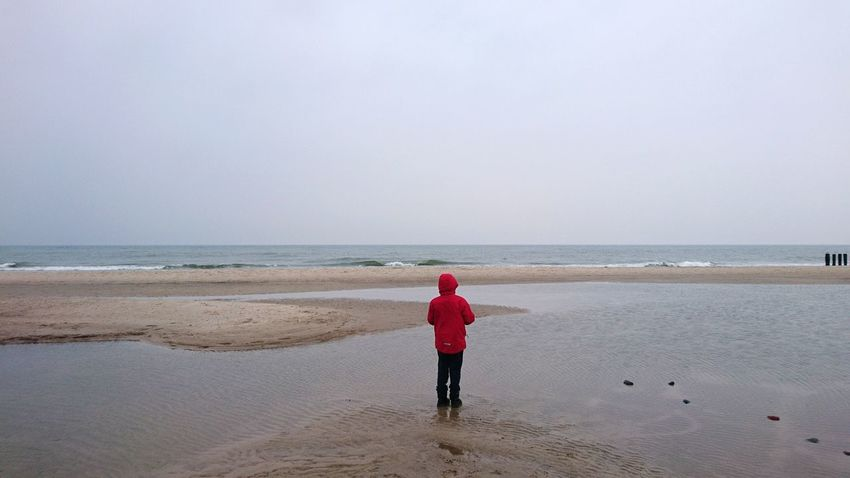 Outdoors Day Winter Baltic Baltic Sea Sea Beach Connection Tranquil Scene One Person Child Childhood Red