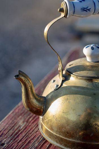 Close-up of old-fashioned teapot
