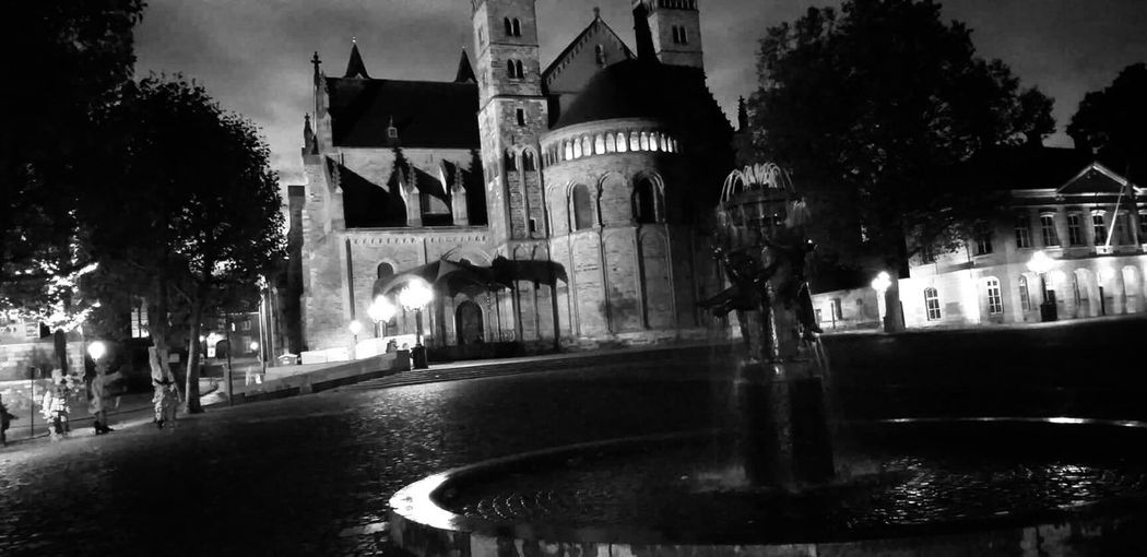 Blackandwhite Vrijthof Maastricht Architecture Built Structure Building Exterior Night Illuminated City Tree Building Street Water Religion Wet Fountain Spirituality