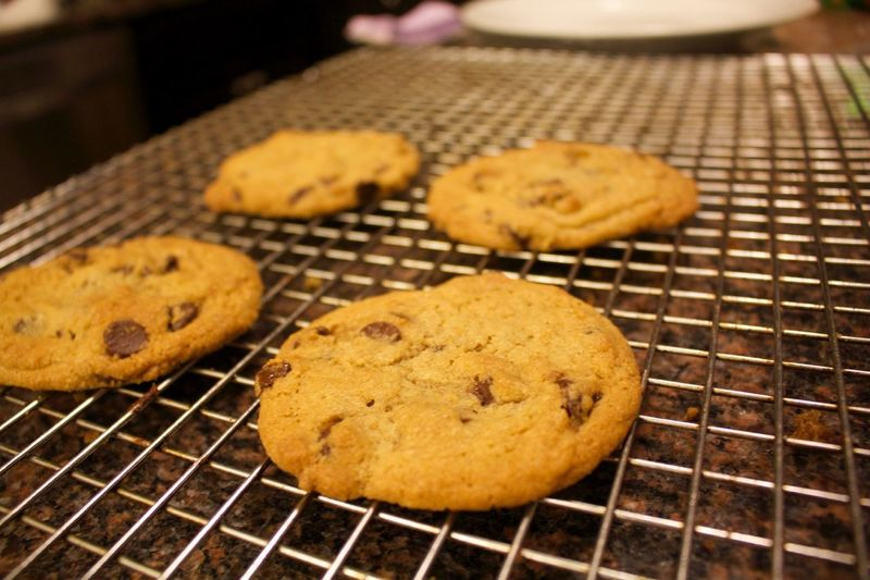 Close-up view of chocolate chip cookies on metal grate