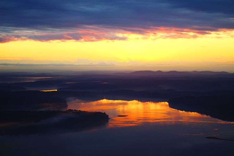 Golden lake sunset Sunset Reflection Scenics Beauty In Nature Orange Color Tranquil Scene Sky Tranquility Nature No People Water Cloud - Sky Dramatic Sky Idyllic Outdoors Majestic Aviationphotography Aerialview ATL Atlanta, Georgia Illuminated Tall - High Day Travel Destinations Aviation Photography