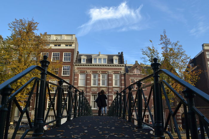 Amsterdam Amsterdam Architecture Amsterdam Bridge Architecture Architecture Bridge Building Exterior Built Structure Day Full Length Nature Outdoors People Real People Rear View Sky The Way Forward Tree Walking